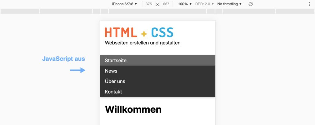 Responsive Navigation - JavaScript aus - mit Progressive Enhancement